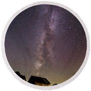 Milky Way And Barn Round Beach Towel