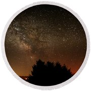 Milky Way And Falling Star Round Beach Towel