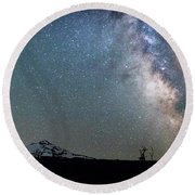 Round Beach Towel featuring the photograph Milky Way At Mckenzie Pass by Cat Connor