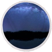 Round Beach Towel featuring the photograph Milky Way At Mrazek Pond by Mark Andrew Thomas