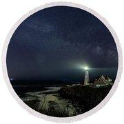 Milky Way At Portland Head Light Round Beach Towel