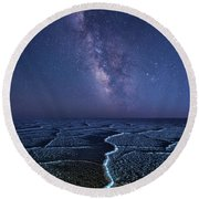 Milky Way At The Salt Flats Round Beach Towel