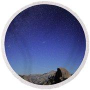 Milky Way Over Half Dome Round Beach Towel