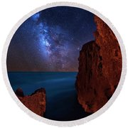 Round Beach Towel featuring the photograph Milky Way Over Huchinson Island Beach Florida by Justin Kelefas