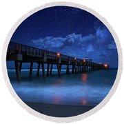 Milky Way Over Juno Beach Pier Under Moonlight Round Beach Towel