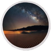 Round Beach Towel featuring the photograph Milky Way Over Mesquite Dunes by Darren White