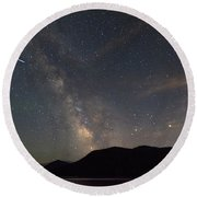 Milky Way Over Mount Hood With International Space Station Round Beach Towel