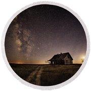Milky Way Over Prairie House Round Beach Towel by Kristal Kraft