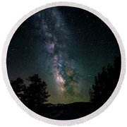 Milky Way Over Rocky Mountains Round Beach Towel