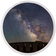 Round Beach Towel featuring the photograph Milky Way Over Stonehendge by Cat Connor