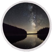 Milky Way Reflections In A Lake Round Beach Towel