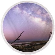 Milky Way Roots Round Beach Towel