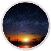 Round Beach Towel featuring the photograph Milky Way Sunrise by Mark Andrew Thomas
