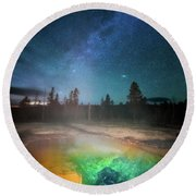 Round Beach Towel featuring the photograph Milky Way Thermal Pool by Darren White