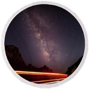 Milkyway Over The Higway Round Beach Towel