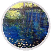 Mill Brook Kingston N H Round Beach Towel