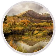 Mill Canyon Peak Reflections Round Beach Towel