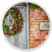 Mill Cottage Round Beach Towel by Patrice Torrillo