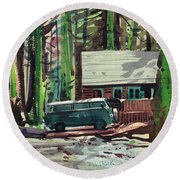 Mill Creek Camp Round Beach Towel by Donald Maier