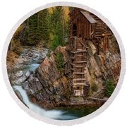 Mill In The Mountains Round Beach Towel
