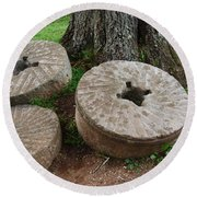 Round Beach Towel featuring the photograph Mill Stone by Eric Liller