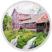 Mill Water Falls Hdr Round Beach Towel