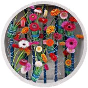 Round Beach Towel featuring the photograph Millefiori by AmaS Art