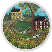Round Beach Towel featuring the painting Millefiori by Virginia Coyle
