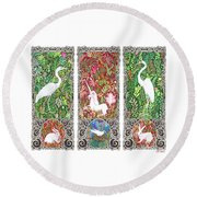 Millefleurs Triptych With Unicorn, Cranes, Rabbits And Dove Round Beach Towel by Lise Winne