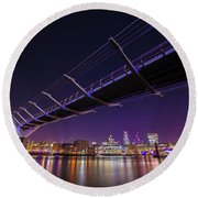 Millennium Bridge At Night 2 Round Beach Towel