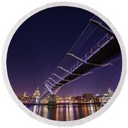 Millennium Bridge At Night  Round Beach Towel