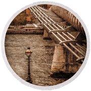 London, England - Millennium Bridge Round Beach Towel