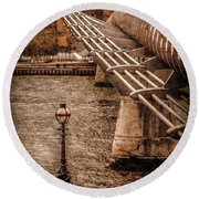 London, England - Millennium Bridge Round Beach Towel