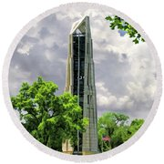Round Beach Towel featuring the painting Millennium Carillon by Christopher Arndt