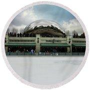 Millennium Park Ice Skating Rink Round Beach Towel