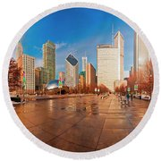 Round Beach Towel featuring the photograph Millennium Park Skyline And The Bean  by Tom Jelen