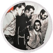 Million Dollar Quartet Round Beach Towel by Luis Ludzska
