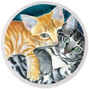 Milo And Tigger - Cute Kitty Painting Round Beach Towel