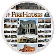 Milwaukee Fire Houses Round Beach Towel