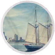 Round Beach Towel featuring the photograph Milwaukee Schooner by Nikki McInnes