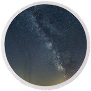 Milky Way From A Pontoon Boat Round Beach Towel