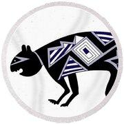 Round Beach Towel featuring the digital art Mimbres Mountain Lion by Vagabond Folk Art - Virginia Vivier