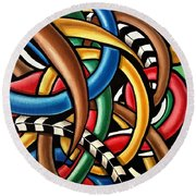 Mind Games - Abstract Energy Painting Round Beach Towel