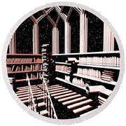 Round Beach Towel featuring the digital art Mind Library Glowing by Russell Kightley