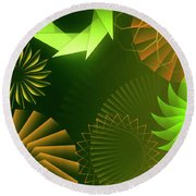 Mind Trips - Green As Canopy Round Beach Towel