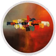 Round Beach Towel featuring the painting Mindful - Abstract Art by Carmen Guedez