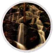 Quaking Aspen Falls Along Tioga Pass  Round Beach Towel
