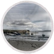 Minehead Harbour Somerset England Round Beach Towel