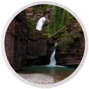 Round Beach Towel featuring the photograph Mineral Creek Falls by Steve Stuller