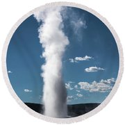 Round Beach Towel featuring the photograph Old Faithful Eruption by Mae Wertz